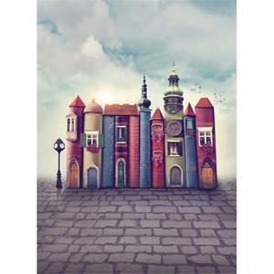 Fairy Tale Books Castle Telón de fondo para la fotografía Impreso Grey Sky Clouds Niños Niños Wedding Party Photo Shoot Background Brick Floor