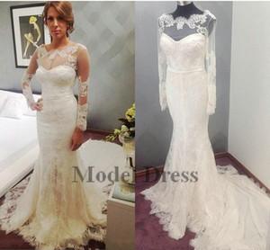 Véritable image sirène robes de mariée à manches longues Made in China dentelle tribunal train Bohème Boho robes de mariée robe de mariée robe de mariée