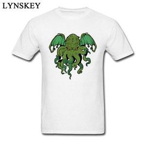 Cthulhu Lives All Cotton Slim Fit Tops Tees High Quality Short Sleeve Men's T-Shirt Design Summer Tee Shirts Crewneck
