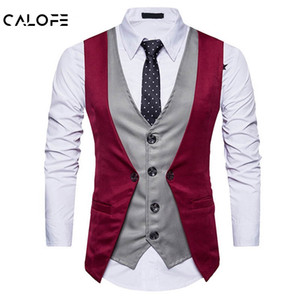 CALOFEBrand Fashion Fake Two Piece Vest Men Single Breasted Men Dress Suit Vests Male Formal Slim Business Wedding Waistcoat
