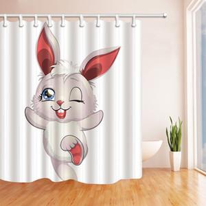만화 흰 토끼 패션 샤워 커튼 70 x 70 곰팡이 방지 방수 폴리 에스터 직물 장식 매달려 커튼 무료 배송