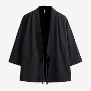 Homme Tang costume littéraire vent cardigan robes kimono lin lâche manteau