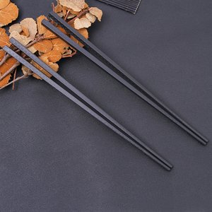 1pair Chinese Style Vintage Chopsticks Black Wood-Like Alloy Chopsticks Mildew Proof Pure Color Kitchen Dinnerware