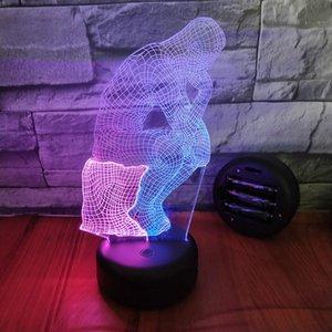 Doble Color pensador del hombre 3D Visual luz de la noche encantador creativo 7 cambio de color en 3D de la lámpara de cabecera de la lámpara decorativa para Dropshipping