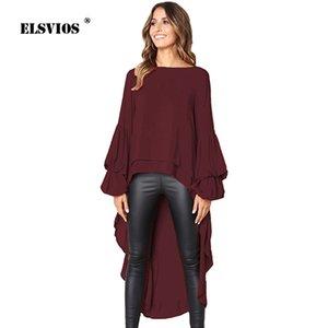 ELSVIOS 2018 Otoño Vestido largo de esmoquin Irregular Maxi vestido Casual Solid Ruffle O cuello manga larga elegante mujer vestidos de invierno