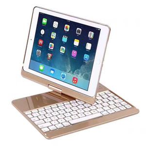 Para iPad Nuevo 2017 9.7 360 Grados Rotación Bluetooth Inalámbrico Teclado Retroiluminado Funda Teclado para iPad Air 2 + Regalo