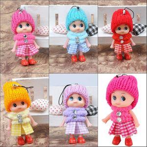 Lovely Kids Toys Soft Interactive Baby Dolls Llavero de juguete, Mini Doll Keychain para niñas Key Ring Key Holder Mobile Phone Straps