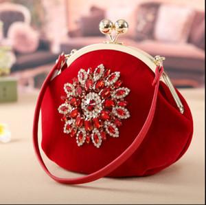 النساء السيدات حزب حقيبة حجر الراين حقائب محفظة فاخرة مساء الفاصل زفاف العروس المحفظة حقيبة الكتف المخملية