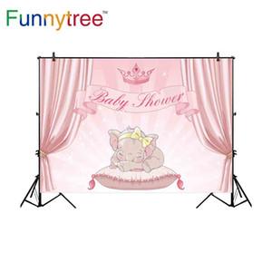 al por mayor telones de fondo para el estudio de fotografía elefante cortina rosada para baby shower girl crown background photocall photobooth
