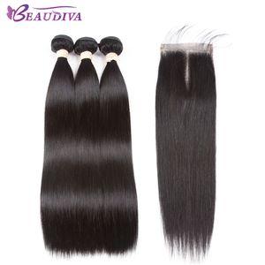 Brazilian Glattes Haar Schließung 3 Bundles mit Verschlüssen Günstige Menschliches Haar Mit Verschlussstück brasilianischen Glattes Haar Weave