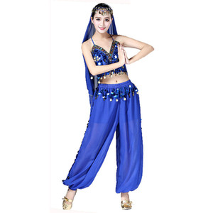 Bollywood Belly Dance Costume Set  Dance Sari Bellydance Suit Women Chiffon Sequins bellydance clothes Top&pant&Belt