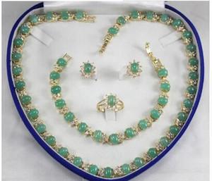 Collana di zircon verde della signora generosa di trasporto libero, orecchini, monili dell'anello del braccialetto (7-9 #) per cerimonia nuziale e partito