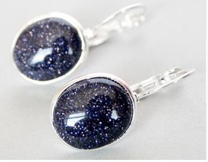 Shippig ELEGANT NATURAL BLUE SAND STONE 925 SILVER EARRINGS