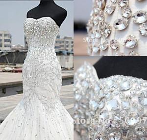 Fotos reales elegantes sin mangas con cuentas de sirena vestidos de novia longitud larga longitud de piso vestido de novia encaje hacia arriba vestido de novia personalizado