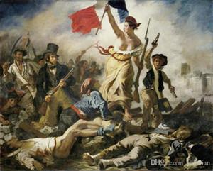 Бесплатная доставка Свобода ведущих людей Eugène Delacroix искусство плакаты печатает обои Home Decor 16 24 36 47 дюймов