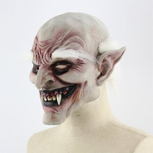 Latex Hood make up bianco Browed Demone Halloween Horror Diavolo Maschera Vampire accessori del costume 50% Haunted House Dress Up Props