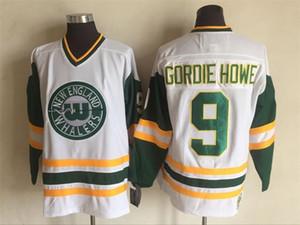 New England Whalers Vintage Jersey # 9 Gordie Howe Hockey Trikots weiße und grüne Farbe von CCM Größe 48-56 genäht Mix Order alle Trikots