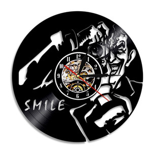 Clown Smile Vinyl Record Orologio da parete Creative Home Decor Room Decoration Wall Art Clock (Dimensioni: 12 pollici, Colore: nero)