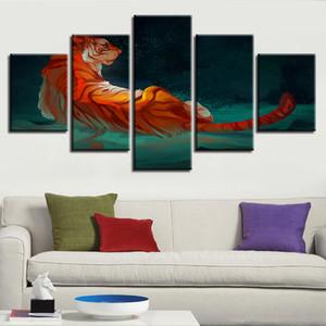 벽화 아트 포스터 Modular Paintings 캔버스 5 조각 추상 동물 사자 야경 사진 HD 인쇄 Decor Modern Room Framed