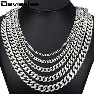 Davieslee 60 cm Cadena para hombre de color plata Collar de acero inoxidable para hombres Curb Cuban Link Hip Hop Joyería 3/5/7/9 / 11mm DLKNM07