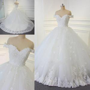 2018 Spitze Ballkleid Brautkleider Vintage Arabisch Off-the-Schulter Perlen Brautkleider Handgemachte Blumen Lace Up Brautkleider