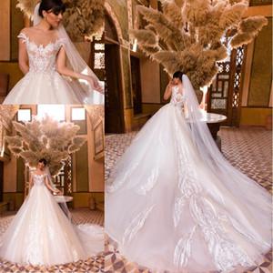 Modest una línea vestidos de boda 2020 Ilusión Sheer cuello mangas cap apliques de encaje Corte tren tul vestidos de novia por encargo