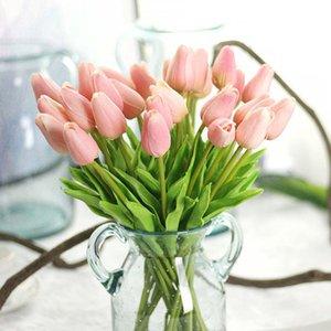 Новый дизайн 30pcs / серия тюльпана Искусственный цветок PU пластиковые Букет Real Сенсорные Цветы Главная Свадебные Декоративные Поддельные Цветы Венки
