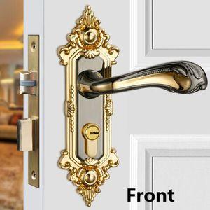 Modern fashion golden Mute indoor handle locks bright golden   gun colour bedroom book room solid wooden door locks with key