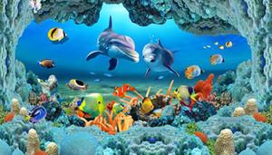 Tapeten für Wände 3D Sea World Unterwasserhöhlen Dolphin Fish Flooring Bricks Badezimmertapete