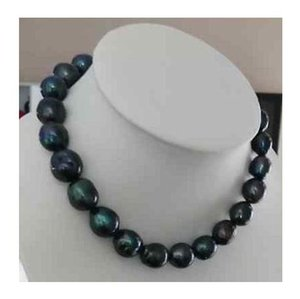 Beautiful natural 11-12mm tahitian black green pearl necklace 18inch 925 silver clasp