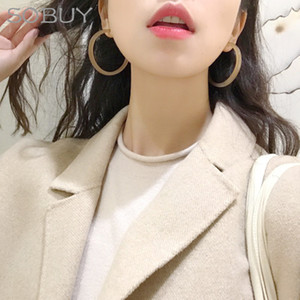 SOBUY Dainty Hoop Earrings for Women Europe Nightclub Exaggerates Oversize Acrylic Circle Ear Rings Earrings Circle C18110801