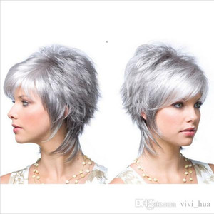 Silbergrau Kurze Perücken für Weiß Schwarze Frauen Synthetische Hochtemperaturfaser Peluca Corta Rubias Perruque Peruca Pruiken Peruk