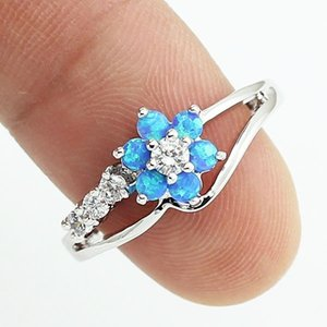 Opal Rings for Women Pink Blue Diamond Wedding Rings Snap Jewelry Fashion Flower Ring Hot Sale