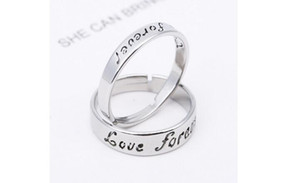 2018 New Stainless Steel Ring Fashion Couple Ring for Women and Men Lettering Love Forever Silver Gold 2 piece 1 lot