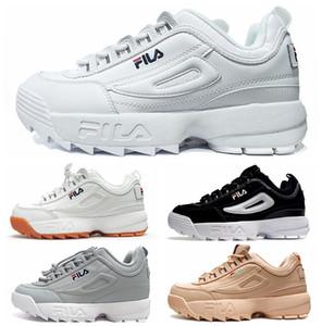 2018 FILA Disruptori II 2 X Raf Simons Mens Donna Suole spesse scarpe da tennis bianche Big Sawtooth Ladies Thick Bottom Altezza aumentata Scarpe da corsa