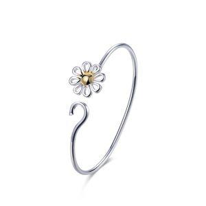 Золотой цветок дизайн красивый серебряный Шарм браслеты стиль высокое качество женщины мода ювелирные изделия B111