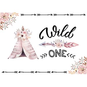 Wild One Birthday Party Booth Telón de fondo Impreso Tent Flowers Tribal Arrow Recién nacido Baby Shower Props Niños Photo Shoot Backgrounds