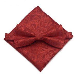 Black Burgundy Printed Men Bow Tie High Qulity BowTie Pocket Square Handkerchief Suit Set Groom Wedding Accessories Bow Tie Handkerchief Set