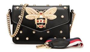 Gem Arı kadın çantası Kolye bayan hakiki deri çanta lüks çanta kadın çanta tasarımcısı Vintage Flap Çanta Satchels