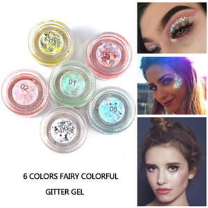 2018 new Handaiyan 6 colors fairy colorful glitter gel used in eyes face hair lips in stock with gift