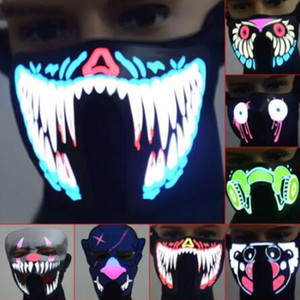 61 Styles EL Masque LED Flash Music Mask Avec son actif pour Dancing Riding Party contrôle vocal de patinage Masque Parti Masques CCA10520 10pcs