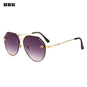 HBK Pilot Oversized Diamond Bees Fashion gafas de sol UV400 Ocean Lens Plastic Trendy Pink Purple Black Exquisite Sun Glasses De