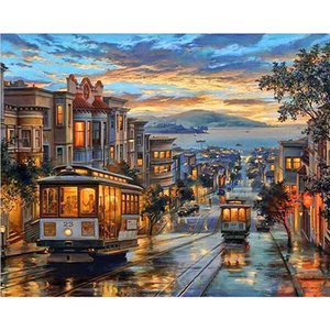 DIY Painting by Numbers Harbor Village Drawing With Brushes Paint for Adults Beginner Level 40x50cm (16 * 20 inch) 3 Styles Select