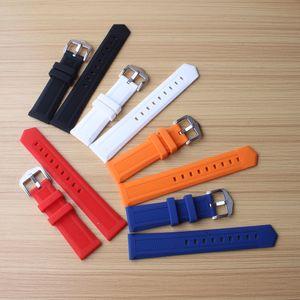 Nouveau 14mm 16mm 18mm 20mm 22mm 24mm Bracelets en caoutchouc de silicone portant des sangles pour les montres de sport Hommes Bande Ceinture Bracelet Ceinture Rouge Bule Orange