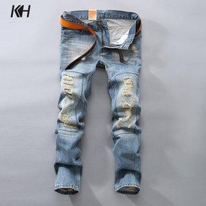 KH hombres de la marca de moda Casual Jeans rectos hombres primavera y otoño agujeros Jeans Mens Retro Patch Denim pantalones largos pantalones