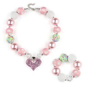 Розовый коренастый ожерелье браслет ювелирных изделий наборы DIY дети Bubblegum сердца прелести акриловые бусины ожерелье подвески для девочек малыш Оптовая