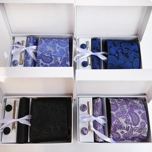 Nuovo 100% seta classico collo cravatta clip Hanky gemelli set marchio floreale formale usura Business Wedding Party Mens Tie K10