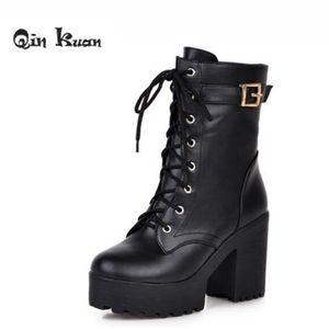 Loslandifen Plus Size 33-43 Lady Belt Buckle Ankle Shoes Women Brand Square Heel Martin Boots Platform Motorcycle Knight Boots
