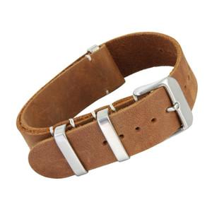 Il cinturino dell'orologio della cinghia di Nato del cuoio genuino spinge il braccialetto per la maggior parte degli orologi con gli anelli d'acciaio 20mm 22mm che spedice liberamente