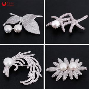 Flor de estrella de mar de agua dulce perla broche esmalte Pins Cherry Broshes Zircon vestido broches de Navidad para las mujeres joyería de moda